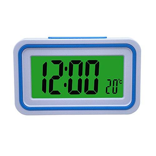 VSONE Reloj Despertador Parlante en Español, Alarma LCD con Voz, Reloj Hablando (Blanco y Azul)