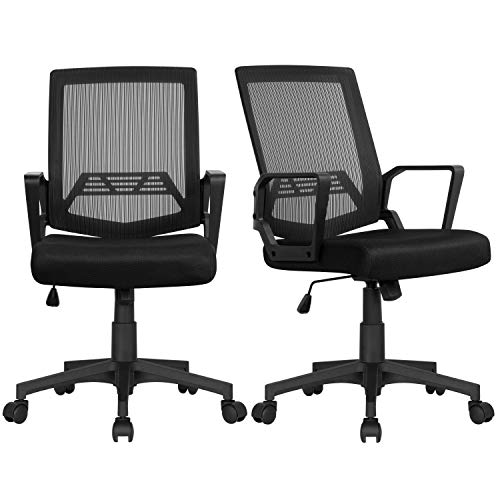 YAHEETECH 2 Pack Mesh Office Desk Chairs, Ergonomic Height Adjustable Computer Chairs, Executive Chair Rolling Chair for Girls, Boys Black