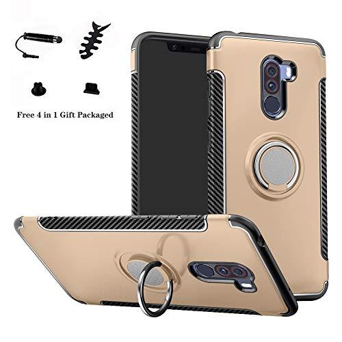 LFDZ Xiaomi Pocophone F1 Anillo Soporte Funda 360 Grados Giratorio Ring Grip con Gel TPU Case Carcasa Fundas para Xiaomi Pocophone F1 Smartphone(con 4 en 1 Regalo empaquetado),Gold