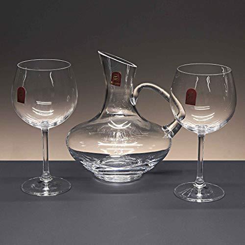 la galaica Set di 2 calici da Vini Rossi in Cristallo - per Il Vino o Acqua + Decanter in Cristallo - Collezione 000.