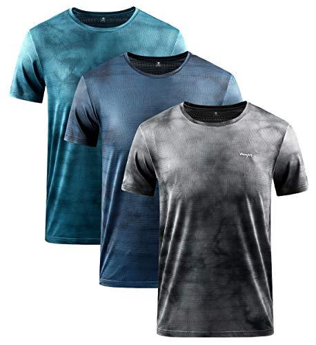 YAWHO Herren Sport T-Shirt 1 Bis 3er Pack Kurzarm Rundhals Atmungsaktiv Schnelltrocknendes Funktionsshirt Laufshirt Fitnessshirt Trainingsshirt für Running Workout Bodybuilding Gym (0228 3Pack, 2XL)