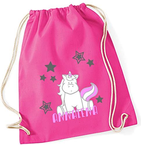 Gymtas met naam | incl. naam | motief eenhoorn zittend | roze 100% katoen | voor meisjes kinderen personaliseren en bedrukken