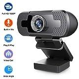 SRVR Webcam HD 1080P con micrófono para ordenador de sobremesa o portátil, cámara web para juegos, transmisión en directo, videoconferencias, trabajo en línea y videollamadas (soporte B)