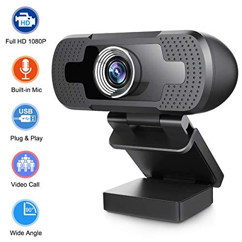 Webcam Full HD 1080P con Microfono, Widescreen 90 gradi USB fotocamera, Desktop Laptop Live Streaming Webcam per Giochi, Video conferenze, Online Lavoro, Video Chiamate (Supporto D)