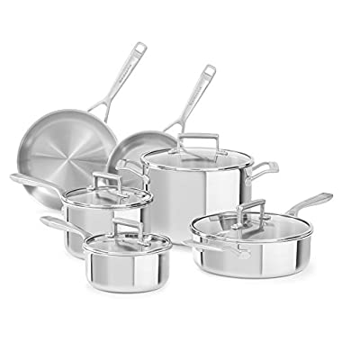 KitchenAid KC2TS10ST 10 Piece Tri-Ply Cookware Set, Stainless Steel Finish, Large