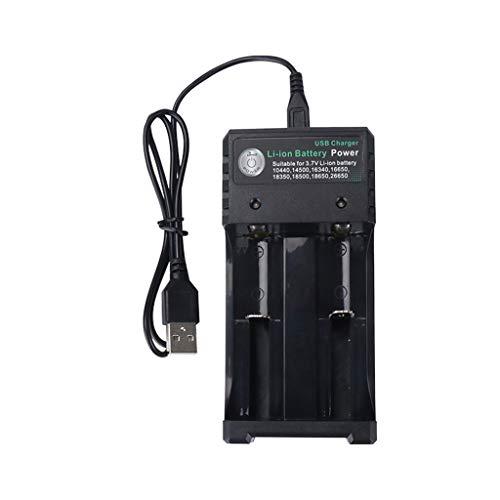 USIRIY USB Universelles Ladegerät Intelligentes Schnellladen Ladegerät mit Überladeschutz Kurzschlussschutz für Wiederaufladbare Batterien 10440 18350 18650 16340 usw.