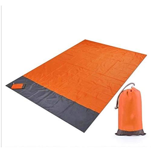 Picknickduk vattentät strandfilt utomhus bärbar picknickmatta camping golvmatta madrass camping camping säng sovdyna 200 x 140 cm orange
