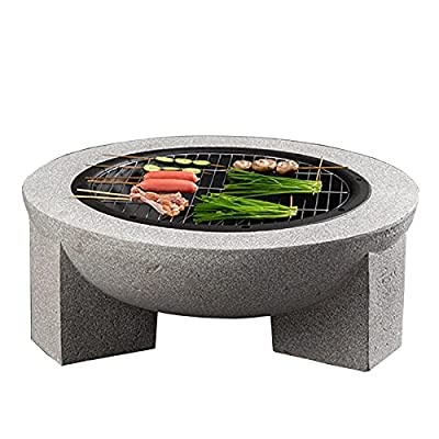 Fire Pit Outdoor fire Pit, 30-inch Wood-Burning fire Pit, with Spark Screen, Barbecue fire Pit in Courtyard Backyard Garden by Lijack