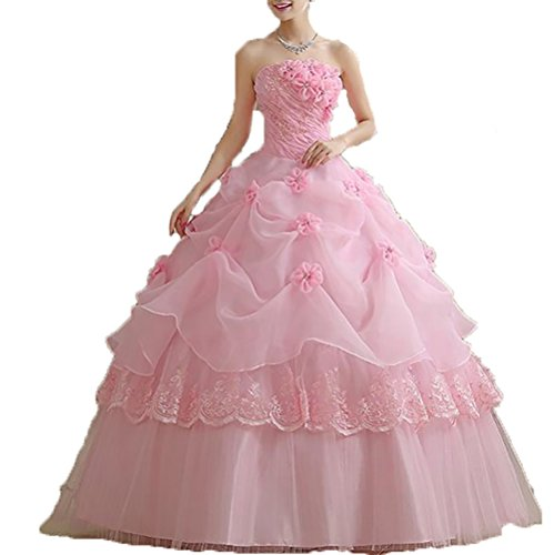 THE LONDON STORE Women's Pink Organza Floral Ball Gown
