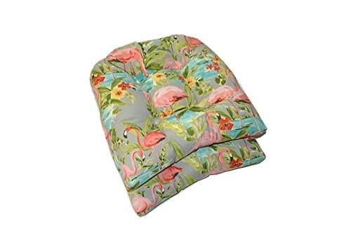 Resort Spa Home Decor Set of 2 - Universal Tufted U-Shape Cushions for Wicker Chair Seat - Waverly Elegant Tropical Platinum Flamingo - Grey Aqua Green Coral