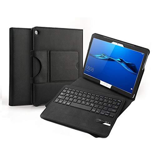 Jelly Comb Bluetooth Tastatur Hülle für Huawei MediaPad M3 Lite 10.1 Zoll, Kabellose Abnehmbare QWERTZ Tastatur mit Schützhülle für Huawei Android Tablet M3 25,6cm (10,1 Zoll), Schwarz