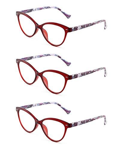 3 Pacco Designer Moda Occhiali da Lettura Occhio di Gatto Cerniera a Molla Occhiali da Vista per Lettori Donna +0.75 Rosso