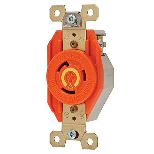 Locking Devices, Twist-Lock, Isolated Ground Industrial, Flush Receptacle, 20A 125V, 2-Pole 3-Wire Grounding, L5-20R, Screw Terminal, Orange