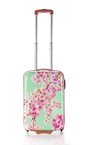 Koffer-Reisekoffer-Hartschale-Handgepäck-Trolley-Grün Blumen-M-53 cm-Bowatex