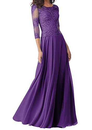 Abendkleider Lang Brautmutterkleider Langarm Spitze Hochzeitskleid Ballkleider A-Linie Chiffon Festkleider Violett 50