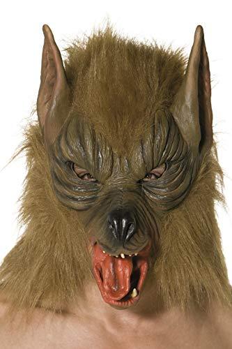 Smiffys-33785 Careta de lobo, Para la cabeza, látex, color