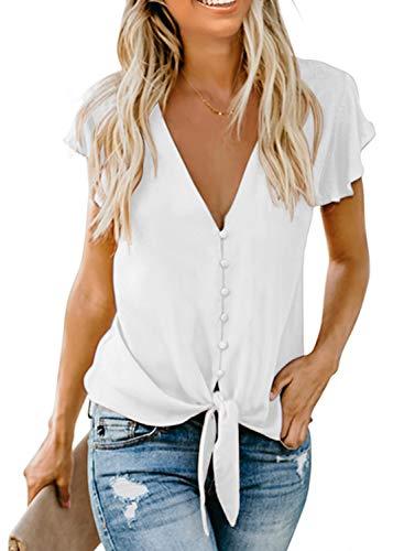 Aleumdr Damen Bluse Kurzarm Hemd V-Ausschnitt Bluse Leinen Tunika mit Konpfen Elegant Krawatte Business Casual Bluse Oberteile Hemd Weiß XL