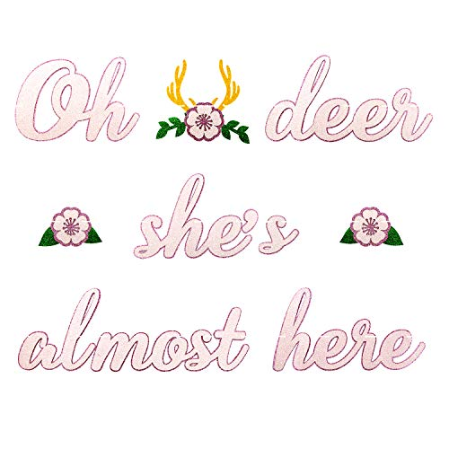 Deer Baby Shower Banner Oh Deer Shes Almost Here Banner with Deer Antler and Flowers Boho Floral Themed Party Decor Woodland Animal Baby Shower Pink and White Decoration Homemade