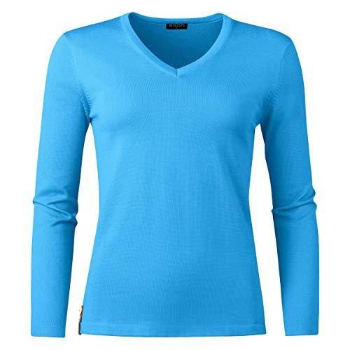 agon damski sweter z merynosów – sweter z dzianiny z dekoltem w serek, wysokiej jakości koszulka z długim rękawem z wełny merynosów z ochroną UV