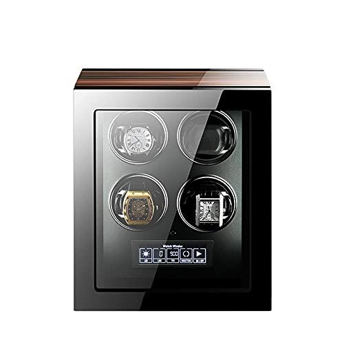 SGSG Enrollador de Relojes automático Enrollador de Relojes para 4 Relojes automáticos Pantalla de Control de Pantalla LCD Motor súper silencioso Funciona con Pilas y Adaptador de CA Adecuado par