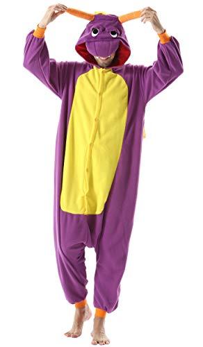 Jumpsuit Onesie Tier Karton Kigurumi Fasching Halloween Kostüm Lounge Sleepsuit Cosplay Overall Pyjama Schlafanzug Erwachsene Unisex Lila Drache for Höhe 140-187CM Damen Herren