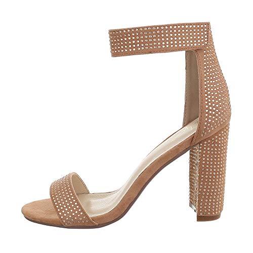 Ital Design Damenschuhe Sandalen & Sandaletten High Heel Sandaletten Synthetik Altrosa Gr. 36