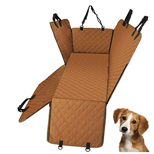 LXYDD Dog Car Seat Cover for Dogs,Side Flaps Dog Hammock, Washable Waterproof Nonslip Pet Car Seat Protector, Dog Travel Hammock for Cars,Brown