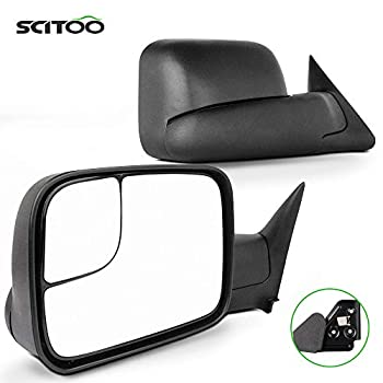SCITOO Driver and Passenger Manual Side Tow Mirrors 7x10 Flip-Up with Mounting Brackets Replacement fit for 1994-2001 for Dodge for Ram Pickup Truck 55156335AD 55156334AD