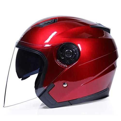 Casco de cara abierta Casco de media cara de adulto Moto ABS Seguridad eléctrica Lente doble Moto Casco para mujeres/hombres Casco de bicicleta de cara abierta