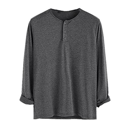 Hombres de algodón manga larga fitness cuello color sólido botón casual estilo básico
