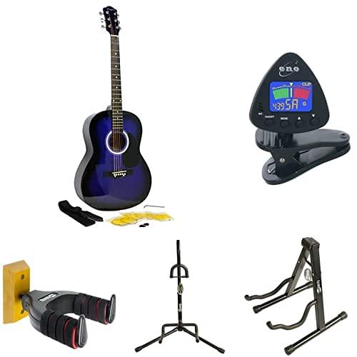 Martin Smith Kit de guitarra acústica + ENO Clip para afinador de guitarra y ukelele + RockJam Aframe soporte de guitarra + Soporte de guitarra + Soporte de guitarra + TwinPack Soporte de guitarra