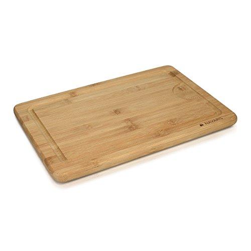 Navaris Tabla para cortar de bambú XL - tabla de cocina 35x23,5x1,8 cm - con ranura para líquidos y protector de cuchillas