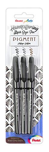 """Pentel XSESP15/3-ANSP Brush Sign Pen Pigment """"Vintage Edition"""", set da 3 con inchiostro pigmentato, penna a fibra, punta simile a pennello, nero/grigio/seppia"""
