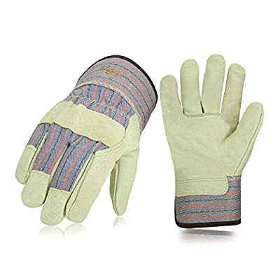 Vgo 3Pairs 32? or above Lined Heavy Duty Grain Leather Work Gloves with Safety Cuff, Leather Palm(Size XL,Plaid,PA3501F)