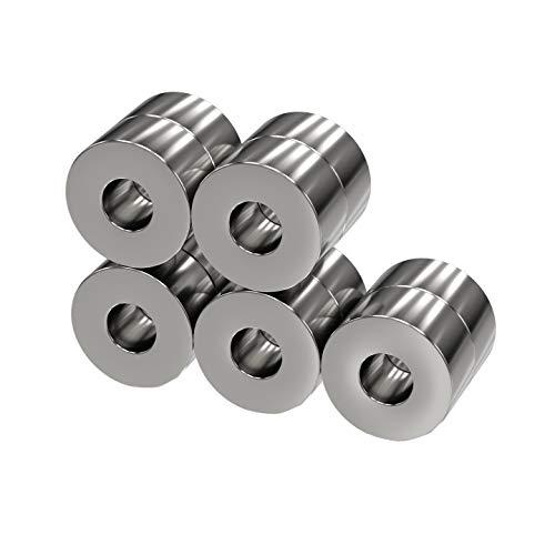 color plateado MTS Magnete Juego de 10 imanes de neodimio extrafuertes, di/ámetro 8 x 2 mm, di/ámetro interior 6 mm, fuerza de sujeci/ón aprox. 2,5 kg