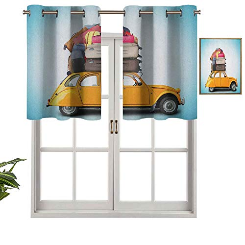 UV Blockout Valance Curtain Panel Old Fashioned Car Auto with Bunch of Luggage on The Roof Happy Summer Holiday Print, Set of 1, 54'x18' for Children Kids Room