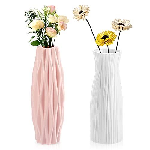 Geoyien vaso di fiori in plastica, Creativo decorativi vaso vasi di fiori vasi di ornamenti per la decorazione di nozze dellufficio del soggiorno, (bianco e rosa)
