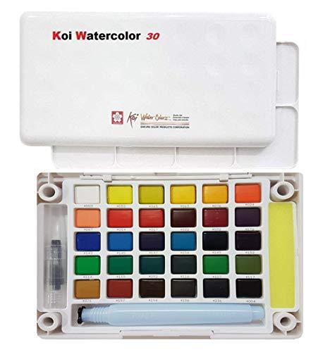 Sakura Finetek Koi acqua colori tasca campo Sketch Box-30 colori,Caja de dibujo con acuarelas de bolsillo 30 pcs.
