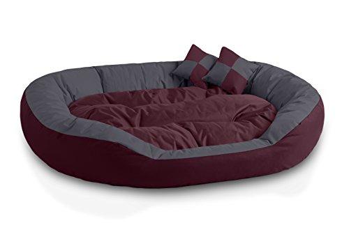 BedDog® 4en1 Saba Cereza/Gris XXL Aprox. 110x80cm colchón para Perro, 7 Colores, Cama, sofá, Cesta para Perro