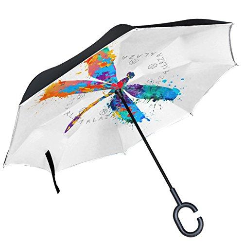 ALAZA Libelle Multicolor Splash seitenverkehrt Double Layer Winddicht Rückseite Regenschirm