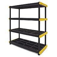 Original Black & Yellow 4-Tier Storage Shelving Unit, Indoor/Outdoor
