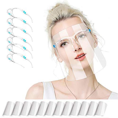 ZUXNZUX Gesichtsschutz Visier für Erwachsene und Studenten, Face_Shield_Visor Gesichtsschutzschild(mit 12 austauschbaren Antibeschlagvisieren und 6 wiederverwendbaren Brillengestellen)