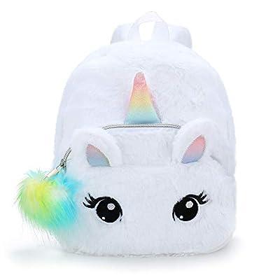 BETOY Unicornio Mochila niñas Mochila Infantiles niños de Peluche Lindo Arco Iris Suave Mochila Mini Unicornio niño Estudiante Viajes (Blanco)