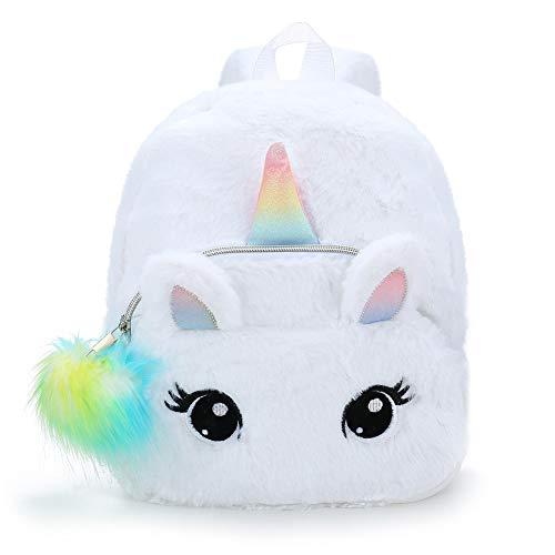 BETOY Plüsch Mini Einhorn Rucksack, niedlich Plüsch Einhorn Rucksack für Mädchen Schultasche Reisetasche Kleine Mädchen Jungen Tier Rucksäcke Geschenke(Weiß