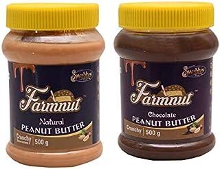 FARMNUT NATURAL Crunchy & CHOCOLATE Crunchy PEANUT BUTTER -500 gm, Made with Roasted Peanuts, Zero Cholesterol & Transfat,...