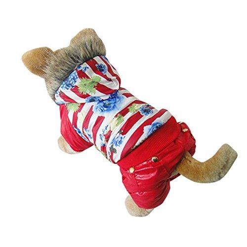 Wodery Dog Winter Dog chaud Manteau pour chien Veste Animaux Veste d'hiver Manteau impressions Red Brown Floral animal coton capuche S / M / L / XL