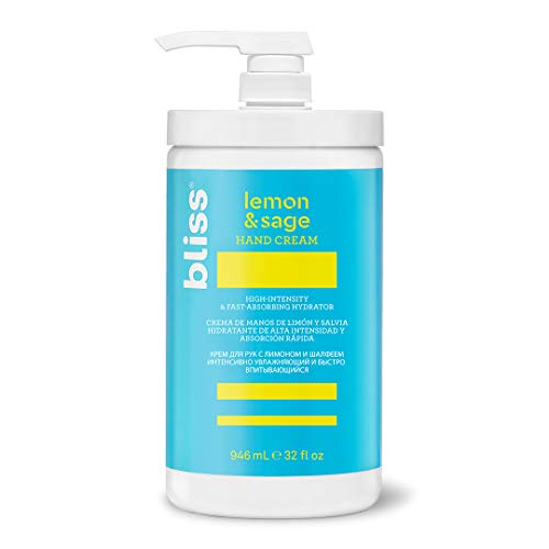 Bliss Lemon & Sage Hand Cream – Deeply Nourishing and Fast-Absorbing Hand Lotion and Cuticle Cream with Shea Butter, Made Without Parabens and Phthalates, 32 oz