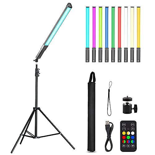 """RGB Handheld LED Video Light, Wand Stick Photography Light 9 Colors with 68"""" to 78.7"""" Tripod & Remote Control, Adjustable 3200K-5600K"""