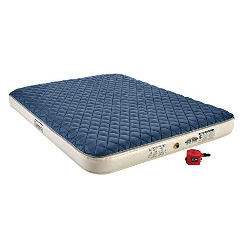 Coleman Inflatable Airbed with Zip-On Insulated Mattress Topper & Battery-Operated Pump, Queen