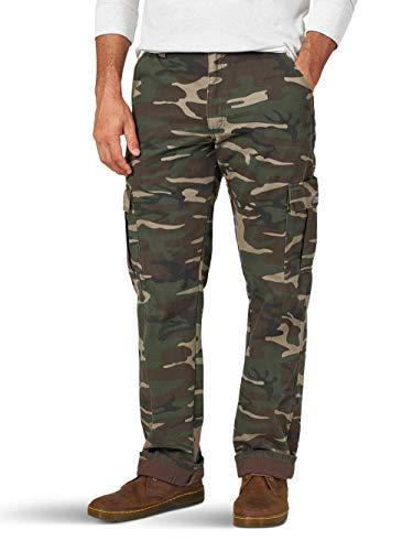 Wrangler Men's Relaxed Fit Fleece Lined Cargo Pants (40x32, Green Camo)